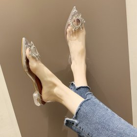 Rhinestone clear crystal shoes low heel pointed Baotou sandals