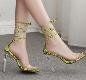 Crystal heel transparent glue with fluorescent snake pattern strap high heel women's sandals