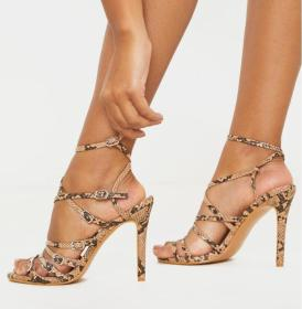 Sexy snake open toe cross cut stiletto ROMAN SANDALS