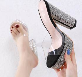 Sexy, hollow and all-around transparent water drill, thick high heel platform slipper