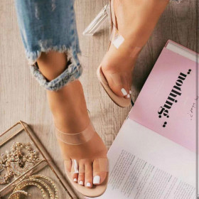 Large women's slippers transparent thick high heels casual women's sandals