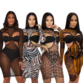Mesh printed leopard dress casual sexy night club three piece set