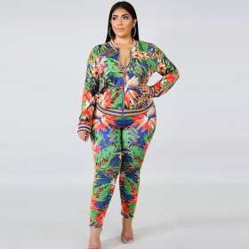 Zipper cardigan Leggings printed fashion casual suit