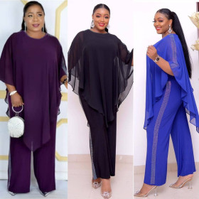African Fashion Chiffon cape with Sequin Jumpsuit commuter large two piece set