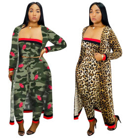 Leopard sexy (wrapped chest + trousers + coat) 3-piece set