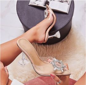 Sunflower transparent crystal heel half slipper high heel oversized shoes