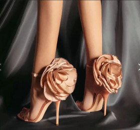 Women's sandals with small high heels and large flowers and satin