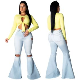 Sexy, fashionable and all-around knee hole elastic tight jeans flared pants