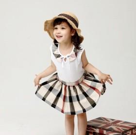 Girls' classic plaid skirt + vest two piece set