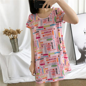 Pattern cartoon printed cotton comfortable skin friendly short sleeve nightdress