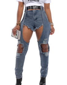 Fashion cut long and short jeans