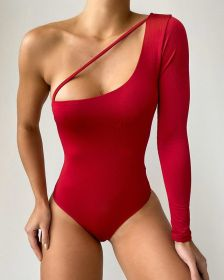 Solid sexy women's one piece swimsuit, one shoulder long sleeve