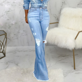 Fashionable and all-around wide leg water washed jeans elastic flared pants with holes