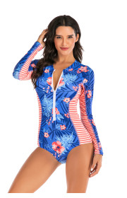 One piece long sleeve surfing suit sun protection women swimsuit hot spring diving suit sexy swimsuit