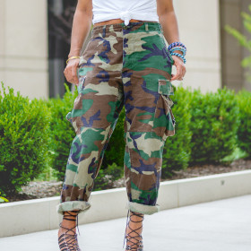 Sexy and versatile loose camouflage work clothes sports leisure Multi Pocket elastic straight pants