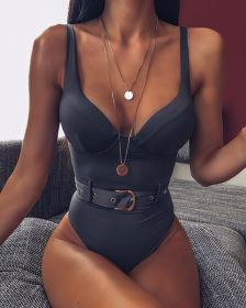 One piece swimsuit with steel support solid belt