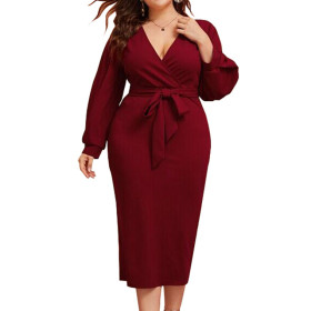 Sexy V-Neck long sleeve mid length dress with belt dress