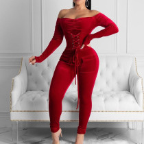 Eyelet waistband lace up sexy long sleeve off shoulder Jumpsuit