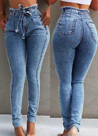 Fashionable, sexy, washed, slim, high waisted, tight and elastic jeans Leggings