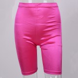 Neon Biker Shorts Women 2019 New Solid Color Spandex Elastic High Waist Shorts Pink Sexy Bodycon Summer Shorts Black Red