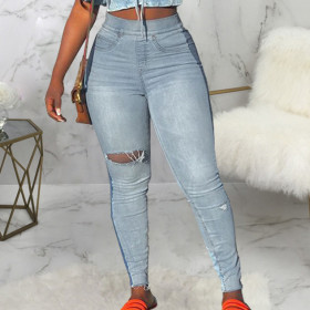 Sexy personality knee hole high waist elastic wash jeans Leggings