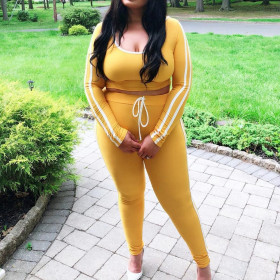 Solid color long sleeve fashion large two piece set