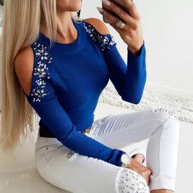 Sexy solid color hot diamond round neck long sleeve top