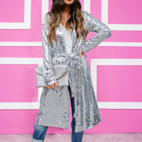 Fashion casual silver Sequin long coat (including belt)
