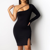 Sexy solid buttock dress