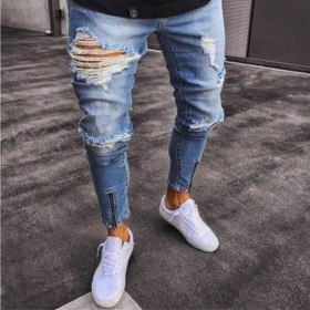 Cotton Jeans Men Spring 2019 MenClothes Denim Pants Distressed Freyed Slim Fit Casual Trousers Stretch Ripped Jeans