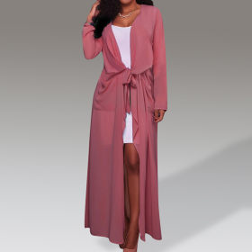 Solid color long sleeve cardigan coat Chiffon
