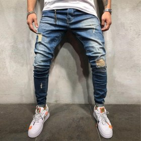 DIAOOAID 2019 New Jeans Men Spring MenClothes Denim Pants Distressed Slim Fit Casual Trousers Stretch Ripped Jeans