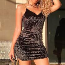 Sexy slim diamond velvet suspender deep V dress