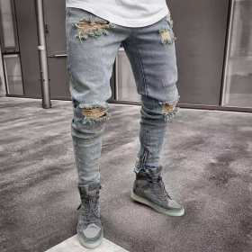 2019 New Jeans Men Spring MenClothes Denim Pants Distressed Slim Fit Casual Trousers Stretch Ripped Jeans