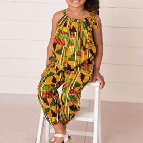 Printed African children's pants adjustable shoulder belt loose children's suspender Jumpsuit