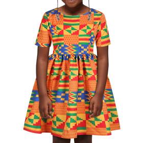 Printed girls' zipper Short Sleeve Dress