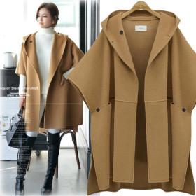 Wool Coat Women Bat Sleeve Woolen Cape Coats Ladies Elegant Wool Jacket Split Streetwear Hoodie Cloak Overcoa
