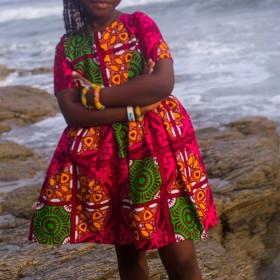 Printed children's zipper Short Sleeve Dress