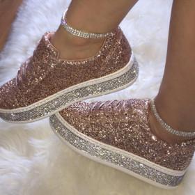 NAN JIU MOUNTAIN Sequined Rhinestones Canvas Shoes Straps Platform Sneakers Flat heel Women's Shoes 3 Color Plus Size 34-43