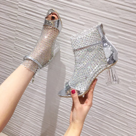 Rhinestone sandals, mesh crystal heel, open toe ROMAN SANDALS