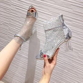 Rhinestone sandals, mesh crystal heel, open toe ROMAN SANDALS