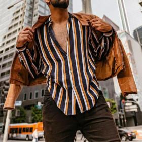 Cotton and linen stripe Long Sleeve Shirt