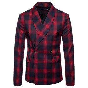 2019 Fashion Man's Suit Plaid Blazer Suit Coat Blazers And Jackets Mens Slim Fit Casual Wedding Dress Suit Men Blazer 4XL