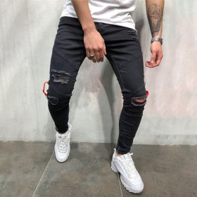 Hot Sale 2019 New Knee Hole Side Zipper Slim Distressed Jeans Men Ripped Tore Up Streetwear  for Men Slim Stripe Pants