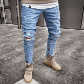 2019 New Design Fashion Men Holes Jeans Cool European Men Hip Hop Ripped Slim Jeans Casual Nostalgic pants Drop shipping s