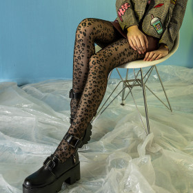 Leopard Design Thin Slim Women Tights Stocking Elastic Black Panty Hose