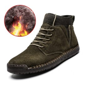 Men Leather Boots Men Winter Plush Boots Warm Shoes Men High Tops Snow Ankle Boots  Comfortable Chaussure Homme Safety Work Boot