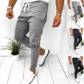 Men's Casual Pants Ankle-Length Elastic Strap Striped Jogger Sports Fitness Sweatpants Long Pants