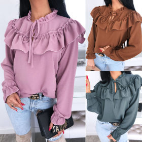 Lotus leaf edge wood ear lace bowknot solid color lotus leaf Sleeve Chiffon shirt