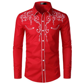 Embroidered slim Lapel shirt